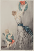 Fine Art - Work on Paper:Print, Louis Icart (French, 1888-1950). Christmas Wreath, c. 1922.Etching in colors on paper. 14-3/4 x 9-7/8 inches (37.5 x 25...