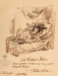 Fine Art - Work on Paper, John French Sloan (American, 1871-1951). Portrait of AngnaEnters, 1935. Ink and pencil on paper. 11 x 8-1/2 inches(27....