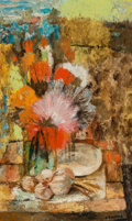Fine Art - Painting, European, Noe Canjura (Spanish, 1922-1970). Nature Morte aux Fluers.Oil on canvas. 24 x 15 inches (61.0 x 38.1 cm). Signed lower ...