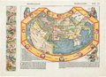 Books:Maps & Atlases, Hartmann Schedel. Secunda etas mundi. [Nuremberg: 1493].Original woodcut world map conceived at the time of Columbu...