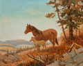 Fine Art - Painting, American, Olaf Wieghorst (American, 1899-1988). Mare and Colt. Oil on canvas. 16 x 20 inches (40.6 x 50.8 cm). Signed lower left: ...