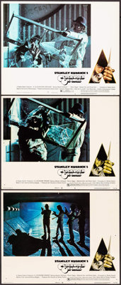 "A Clockwork Orange (Warner Brothers, 1971). Lobby Cards (3) (11"" X 14"") 2 X-Rated & 1 R-Rated, Philip..."