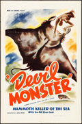"Movie Posters:Adventure, Devil Monster (Louis Weiss, 1946). One Sheet (27"" X 41""). Adventure.. ..."