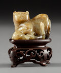 Asian:Chinese, A Chinese Carved Gray Jade Badger Group on Hardwood Stand, MingDynasty. 7/8 x 1-1/8 x 1 inches (2.2 x 2.9 x 2.5 cm) (jade)...