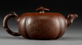 Asian:Chinese, A Wu Yungen Yixing Pottery Persimmon-Form Teapot, Republic Period,circa 1912-1949. Marks: Four-character incised seal. 3-1/...