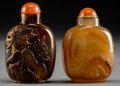 Asian:Chinese, Two Chinese Carved Agate Snuff Bottles. 2-3/4 inches high (7.0 cm).PROPERTY FROM A BEVERLY HILLS ESTATE... (Total: 2 Items)