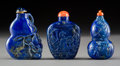 Asian:Chinese, Three Chinese Carved Lapis Lazuli Snuff Bottles. 2-5/8 inches high(6.7 cm). PROPERTY FROM A BEVERLY HILLS ESTATE. ... (Total: 3Items)