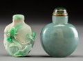 Asian:Chinese, Two Chinese Carved Jade and Jadeite Snuff Bottles. 2-3/8 incheshigh (6.0 cm). PROPERTY FROM A BEVERLY HILLS ESTATE... (Total: 2Items)