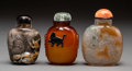 Asian:Chinese, Three Chinese Carved Agate Snuff Bottles. 3-1/2 inches high (8.9cm) (tallest). PROPERTY FROM A BEVERLY HILLS ESTATE... (Total: 3Items)