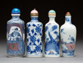 Asian:Chinese, Four Chinese Blue and White Porcelain Snuff Bottle. Marks:(various). 3-3/8 inches high (8.6 cm) (tallest). PROPERTY FROM ...(Total: 4 Items)