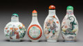 Asian:Chinese, Four Chinese Porcelain Snuff Bottles. Marks: (various). 3-3/8inches high (8.6 cm) (tallest). PROPERTY FROM A BEVERLY HILL...(Total: 4 Items)