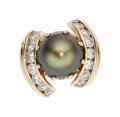 Estate Jewelry:Rings, Black South Sea Cultured Pearl, Diamond, Gold Ring...