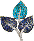 Estate Jewelry:Brooches - Pins, Diamond, Multi-Stone, Platinum-Topped Gold Brooch. ...