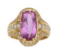 Estate Jewelry:Rings, Pink Topaz, Diamond, Gold Ring . ...