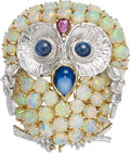 Estate Jewelry:Brooches - Pins, Multi-Stone, Gold Pendant-Brooch. ...