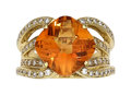 Estate Jewelry:Rings, Citrine, Diamond, Gold Ring, Spark The ring fe...