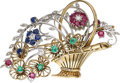 Estate Jewelry:Brooches - Pins, Diamond, Ruby, Sapphire, Emerald, Gold Brooch. ...