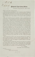 Miscellaneous, Broadside Printing of George Armstrong Custer's Announcement of the Surrender of General Lee at Appomattox and Farewell to His...