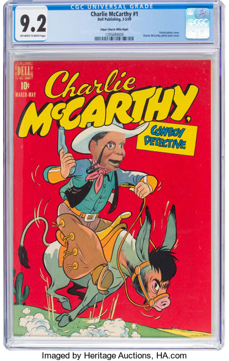 Charlie McCarthy #1 Mile High Pedigree (Dell, 1949) CGC NM- 9.2 Off-white to white pages....