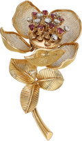 Estate Jewelry:Brooches - Pins, Diamond, Ruby, Platinum, Gold Brooch, French. ...