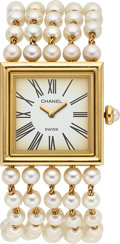 Estate Jewelry:Watches, Chanel Lady's Cultured Pearl, Gold Mademoiselle Watch. ...