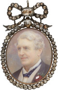 Estate Jewelry:Pendants and Lockets, Antique Diamond, Painted Portrait, Gold, Silver Pendant, circa1894. ...