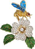 Estate Jewelry:Brooches - Pins, Diamond, Ruby, Enamel, Gold Brooch, French. ...