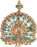 Estate Jewelry:Pendants and Lockets, Turquoise, Seed Pearl, Gold Pendant-Brooch. ...