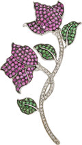 Estate Jewelry:Brooches - Pins, Pink Sapphire, Diamond, Tsavorite Garnet, White Gold Brooch. ...