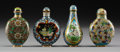 Asian:Chinese, Four Chinese Cloisonne Snuff Bottles. 2-7/8 inches high (7.3 cm).... (Total: 4 Items)