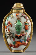 Asian:Chinese, A Chinese Famille Rose Porcelain Snuff Bottle with Gilt BronzeMounts, Qing Dynasty. Marks: Four-character Jiaqing mark . 3 ...