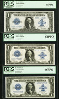 Large Size:Silver Certificates, Fr. 237 $1 1923 Silver Certificate Graded Sextet Of VariousBlocks.. ... (Total: 6 notes)