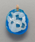 Jewelry:Pendants, A Rare Chinese Carved White on Blue Glass Pendant with Bat and Peach Motif, Qing Dynasty. 1-5/8 inches high x 1-1/8 inches w...