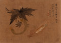 Asian:Chinese, Chinese School (Qing Dynasty). Corn, Cucumber, and BitterMelon (two works). Ink and color on silk. ...