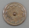 Asian:Chinese, A Chinese Bronze Hand Mirror with Ruyi and Vine Motif, TangDynasty, circa 618-907. 3-1/4 inches diameter (8.3 cm). ...