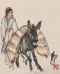 Asian:Chinese, Attributed to Huang Zhou (Chinese, 1925-1997). Girl andDonkey. Ink and color on paper. 13 inches high x 10-1/2 inchesw...