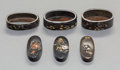 Asian:Japanese, Three Japanese Bronze and Mixed Metals Fuchi Kashira Sets,Edo-Meiji Periods. Marks: Various multi-character signatures.1-1... (Total: 3 Items)