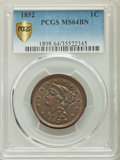 Large Cents: , 1852 1C MS64 Brown PCGS Gold Shield. PCGS Population: (223/152). NGC Census: (166/167). MS64. Mintage 5,063,094....
