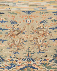 A Chinese Imperial Kesi Silk Textile with Double Dragon and Flaming Pearl Motif, Ming Dynasty, probably Wa