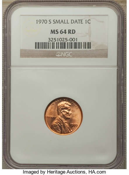 1970-S 1C Small Date MS64 Red NGC  This lot will include