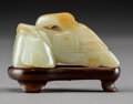Asian:Chinese, A Chinese White Jade Goose and Horse Carving on Hardwood Stand,Qing Dynasty. 1-1/4 h x 2-1/2 w x 1-1/8 d inches (3.2 x 6.4 ...