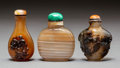 Asian:Chinese, Three Chinese Carved Agate Snuff Bottles. 2-5/8 inches high (6.7cm) (tallest). PROPERTY FROM A BEVERLY HILLS ESTATE. ... (Total: 3Items)