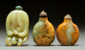 Asian:Chinese, Three Chinese Carved Yellow and Russet Jade Snuff Bottles, QingDynasty. 3 inches long (7.6 cm) (Buddha's hand). PROPERTY ...(Total: 3 Items)