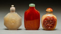 Asian:Chinese, Three Chinese Carved Agate and Amber Snuff Bottles. 2-3/4 incheshigh (7.0 cm) (tallest). PROPERTY FROM A BEVERLY HILLS ES...(Total: 3 Items)