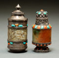 Asian:Chinese, Two Chinese Silver and Hardstone Mounted Snuff Bottles, jadeelements Qing Dynasty or earlier. 3-1/8 inches high (7.9 cm) (t...(Total: 2 Items)
