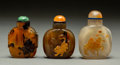 Asian:Chinese, Three Chinese Carved Agate Snuff Bottles, late Qing Dynasty. 3inches high (7.6 cm). PROPERTY FROM A BEVERLY HILLS ESTATE...(Total: 3 Items)