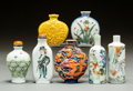 Asian:Chinese, Seven Chinese Porcelain Snuff Bottles. Marks: (various). 3 incheshigh (7.6 cm). PROPERTY FROM A BEVERLY HILLS ESTATE...