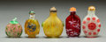 Asian:Chinese, Five Chinese Carved Multi-Colored Glass Snuff Bottles. 2-5/8 incheshigh (6.7 cm). PROPERTY FROM A BEVERLY HILLS ESTATE... (Total: 5Items)
