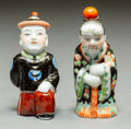 Asian:Chinese, Two Chinese Porcelain Figural Snuff Bottles, late Qing Dynasty.3-1/8 inches high (7.9 cm) (each). PROPERTY FROM A BEVERLY...(Total: 2 Items)