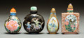 Asian:Chinese, Four Chinese Porcelain Snuff Bottles. Marks: (various). 3 incheshigh (7.6 cm). PROPERTY FROM A BEVERLY HILLS ESTATE. ... (Total: 4Items)